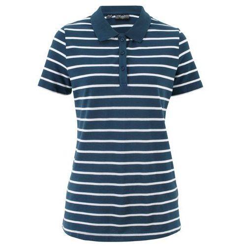 Bonprix Shirt polo w paski, krótki rękaw ciemnoniebiesko-biały w paski