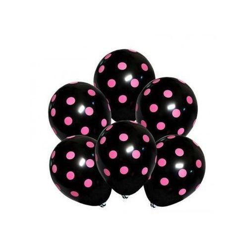 Balony czarne w różowe kropki - 30 cm - 5 szt.