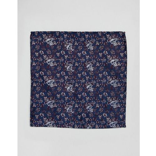 Twisted tailor pocket square in navy skull jacquard - navy