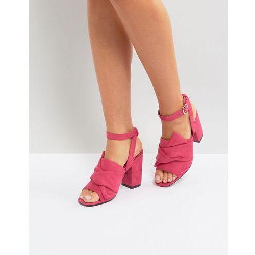 oversized knot front heel sandals - pink marki Park lane