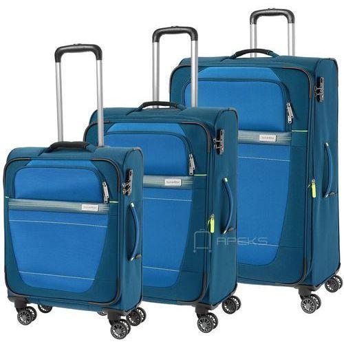 Travelite meteor zestaw walizek / komplet / walizki na 4 kółkach / niebieski - niebieski