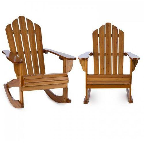 Blumfeldt rushmore ogrodowe krzesło bujane 2 sztuki styl adirondack kolor brązowy