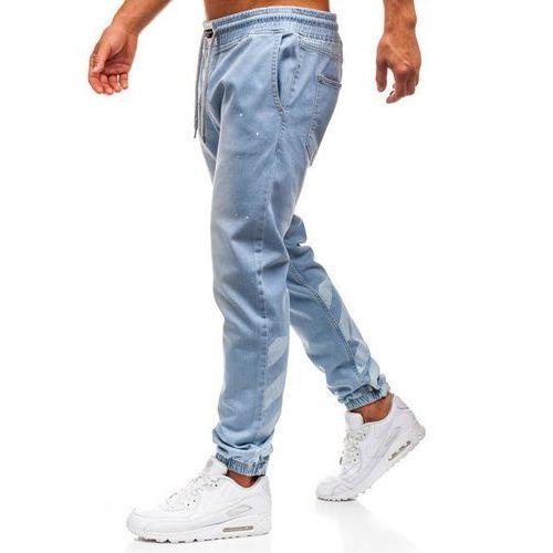 Spodnie jeansowe baggy męskie jasnoniebieskie Denley 2040, jeansy