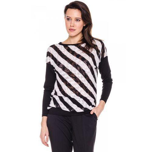 Studio mody pdb Bluzka w ukośne paski czarno-ecru -