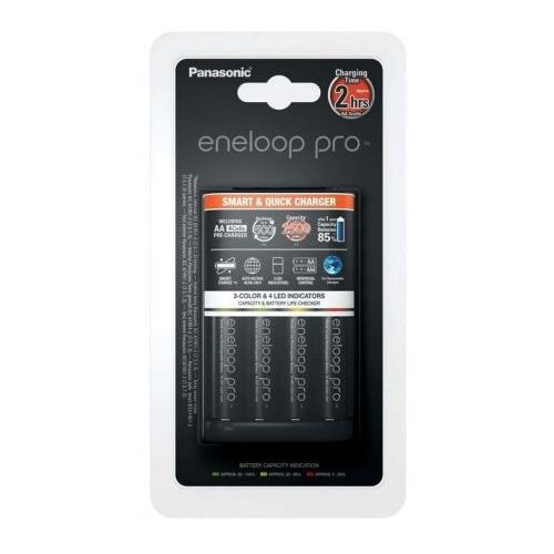 Panasonic Ladowarka + 4x akumulatorki Eneloop PRO R6 AA 2500mAh