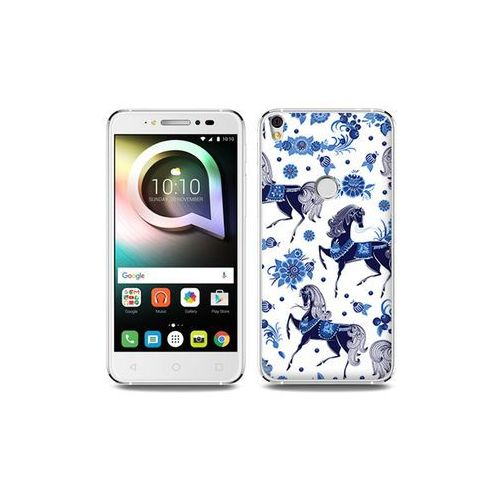 Etuo fantastic case Alcatel shine lite - etui na telefon fantastic case - folkowe niebieskie konie