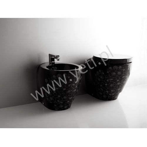Simas bohemien miska stojąca wc czarna z dekorem bo01