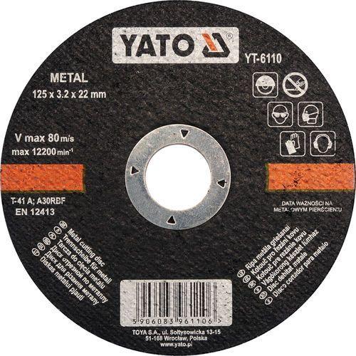 Tarcza do cięcia metalu 125x3.2x22 mm Yato YT-6110 - ZYSKAJ RABAT 30 ZŁ (5906083961106)