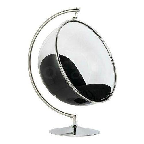 Fotel BUBBLE STAND poduszka czarna - podstawa chrom, korpus akryl, poduszka wełna, kolor czarny