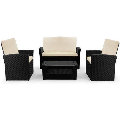 Wideshop Meble ogrodowe poli rattan stół + sofa + 2 fotele