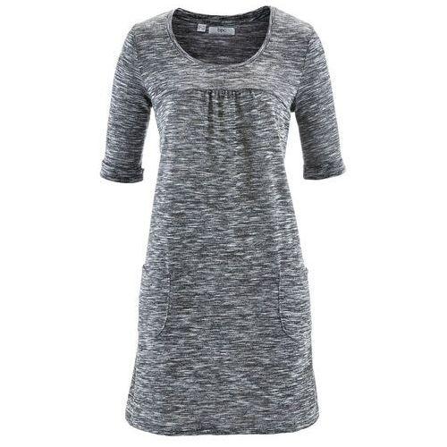 Sukienka melanżowa, rękawy 1/2 czarno-biały melanż marki Bonprix