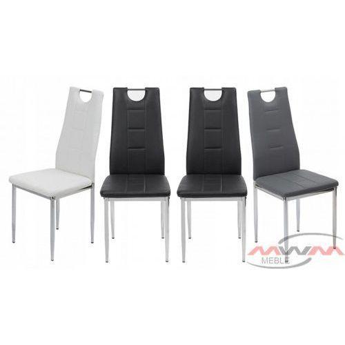 Meblemwm 4 krzesła tapicerowane k1 popiel z rączką nogi chrom