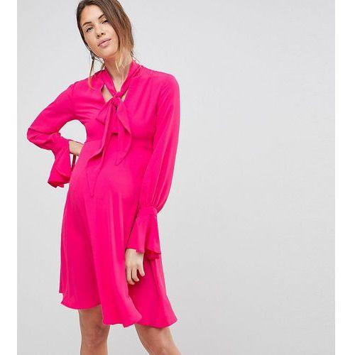 dress with tie neck detail - pink, Queen bee
