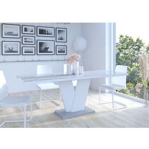 Stół Niko I 120-160 Szaro - biały wysoki połysk, MD-0043