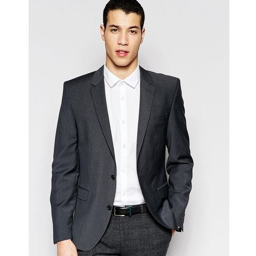 Selected homme  slim suit jacket in charcoal wool blend - grey