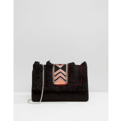 Park Lane Embroidered Clutch Bag With Suede Upper Panel - Black, kolor czarny