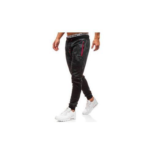 Spodnie męskie dresowe joggery moro-czarne Denley KK512, dresowe