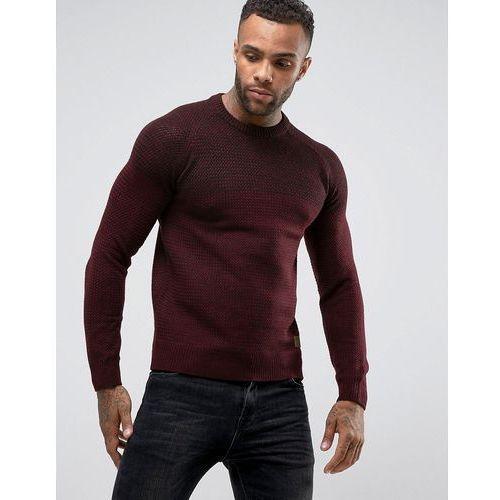 Threadbare two shade textured knit jumper - red
