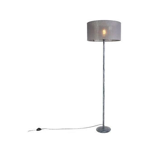 Nowoczesna lampa podłogowa antyczny szary z ciemnoszarym kloszem 50cm - Simplo