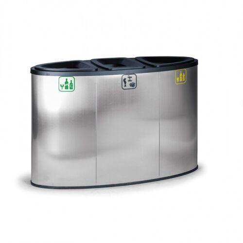 Kosz do segregacji śmieci, 129 l, ze stali nierdzewnej, kolor stalowy