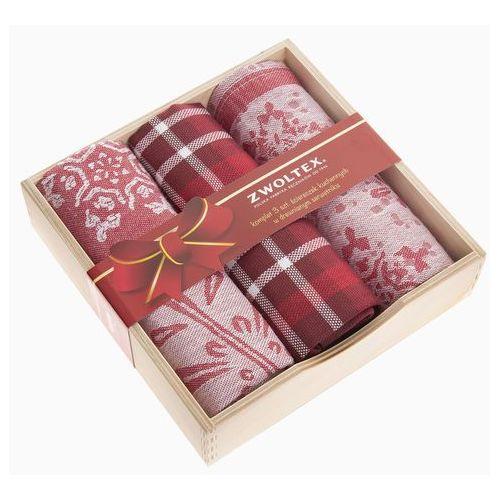 Zwoltex Komplet ścierek w drewnianym pudełku wzór gwiazdka czerwony