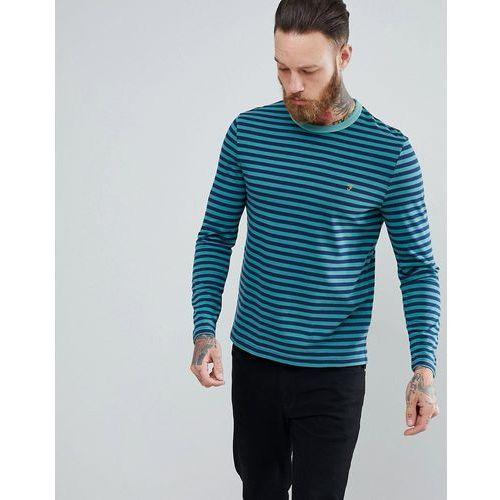 Farah Trafford Slim Fit Stripe Long Sleeve Top in Green - Green, w 4 rozmiarach