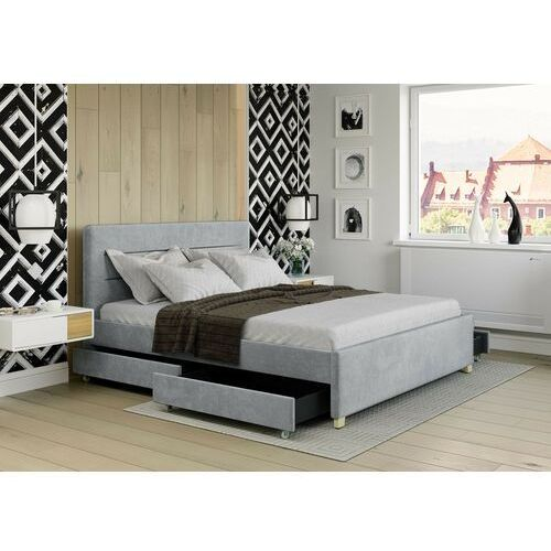 Łóżko 120x200 z 4 szufladami - monza welur szare marki Zona meble