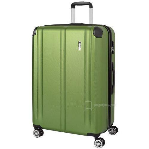 Travelite City duża walizka poszerzana 77 cm / zielona - zielony