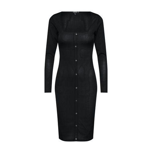 Missguided Sukienka 'Slinky Ribbed Long Sleeved Button Front Midi Dress' czarny, w 5 rozmiarach