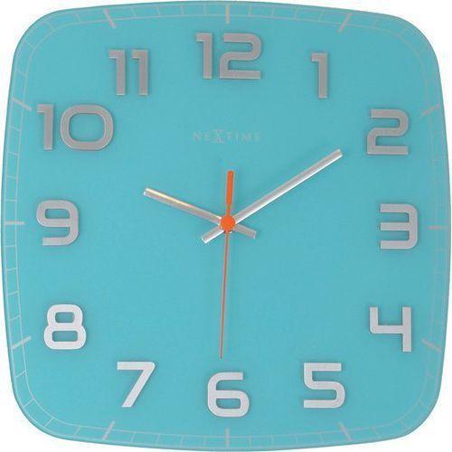 Zegar ścienny classy square turkusowy marki Nextime