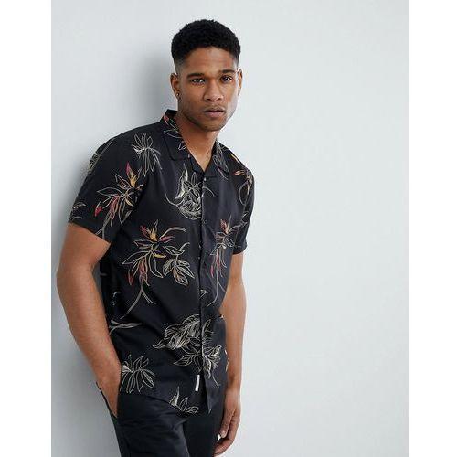 Bellfield Short Sleeve Revere Collar Shirt With Leaf Print - Black