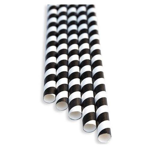 Słomki papierowe czarno-białe