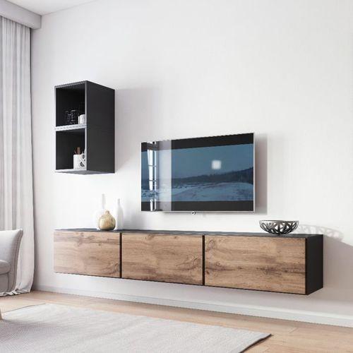 Nowoczesna meblościanka rock 7 antracyt mat - wotan mat marki High glossy furniture