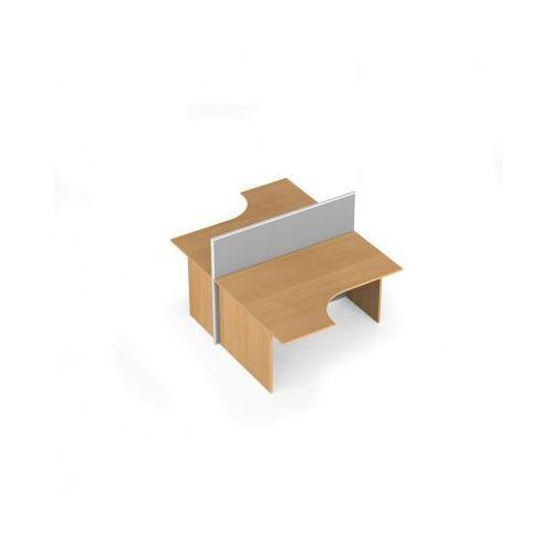 Zestaw parawanów biurowych ze stołem ergonomicznym, tekstylny, 2 miejsca, brzoza
