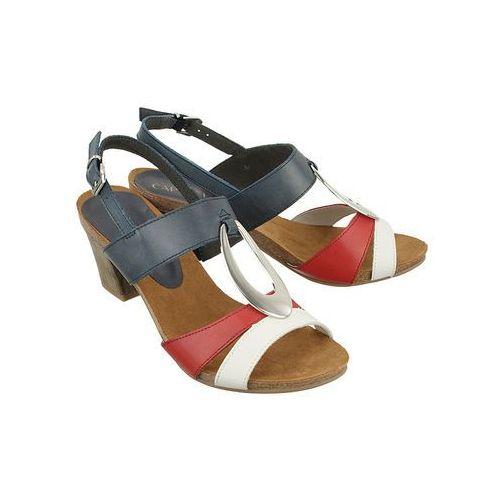 CAPRICE 28307-20 832 navy/red/white, sandały damskie - Granatowy, kolor niebieski
