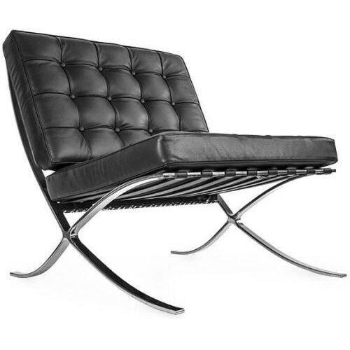 Czarny Fotel Skóra Naturalna Insp. Projektem Barcelona, 8030-1Cz