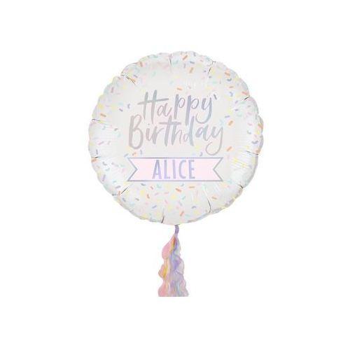 Ginger ray Balon foliowy happy birthday personalizowany - 54 cm - 1 szt.