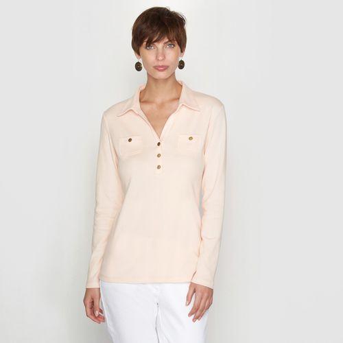 T-shirt z kołnierzykiem polo, koszula bez wzoru z długim rękawem, Anne weyburn