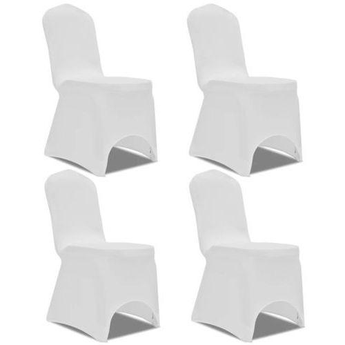 130342 Elastyczne pokrowce na krzesło białe 4 szt., kolor biały