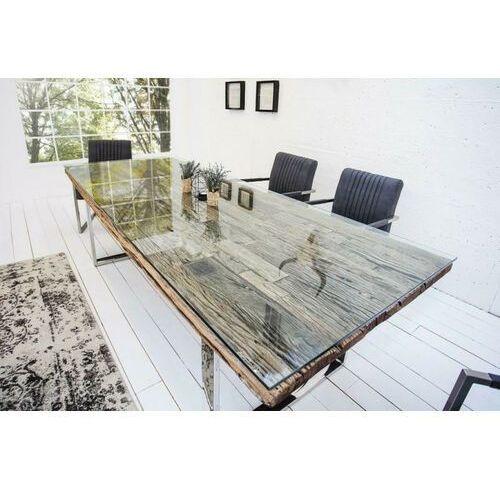 Stół euphoria barracuda glass 180 - blat lite drewno tekowe, metalowa podstawa, szklana nakładka marki Sofa.pl