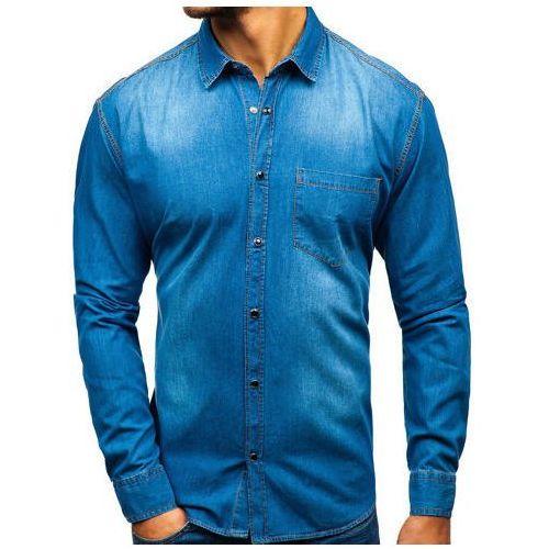Zazzoni Koszula męska jeansowa z długim rękawem niebieska denley 1316