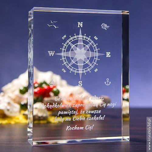 Róża Wiatrów 3D z Twoją dedykacją • duży kryształ 3D • GRAWER 3D