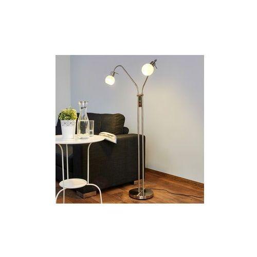 2-punktowa lampa stojąca LED ELAINA, matowy nikiel (6291106553208)