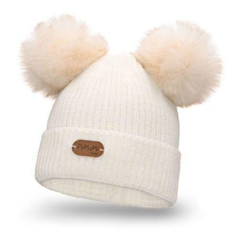 Zimowa czapka dziewczęca PaMaMi - Ecru, kolor beżowy