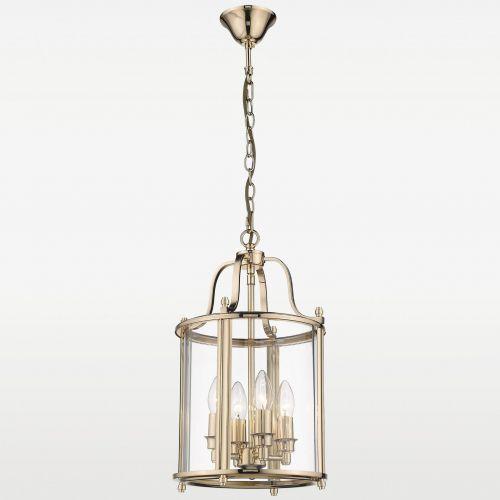 LAMPA wisząca EVO P04882AU szklana OPRAWA zwis na łańcuchu złoty przezroczysty