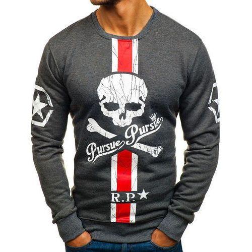 Bluza męska bez kaptura z nadrukiem grafitowa denley dd500, J.style