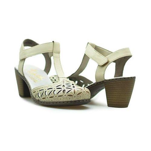 Sandały Rieker 40995-80 Weiss/ Kremowe, kolor beżowy