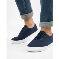 New look canvas lace up plimsoll in navy - navy