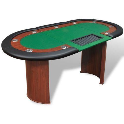 Vidaxl stół do pokera dla 10 graczy z tacą na żetony, zielony