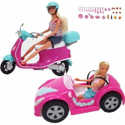 Simba steffi zestaw 2 lalki samochód skuter akcesoria